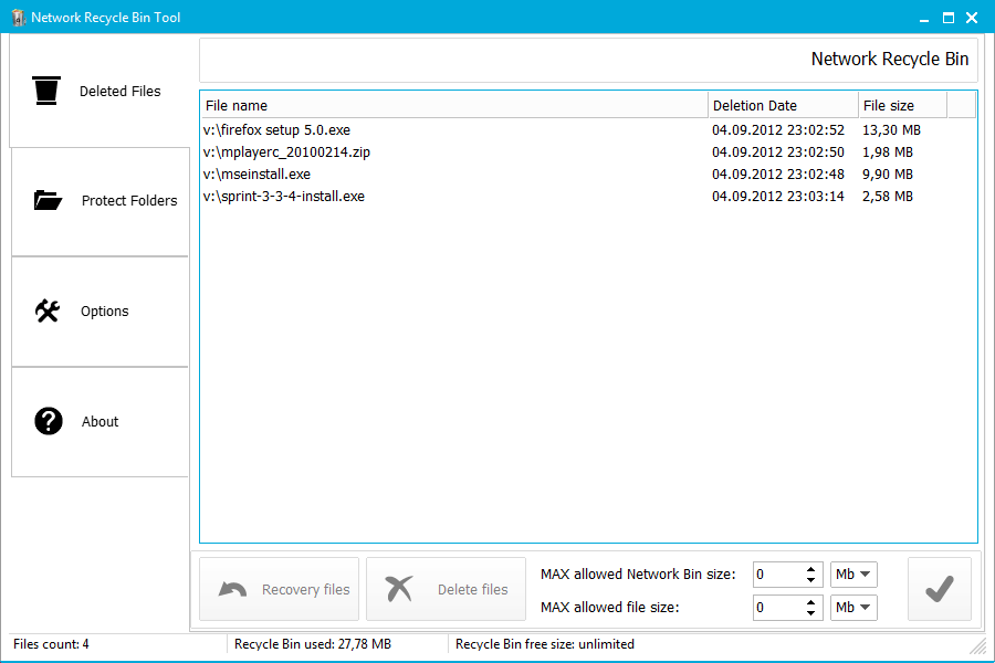Click to view Network Recycle Bin Tool 5.2.3.93 screenshot